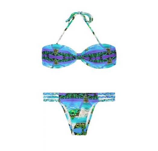 Tropical blue bandeau bikini, multi plaited straps - MAR MIRAGE
