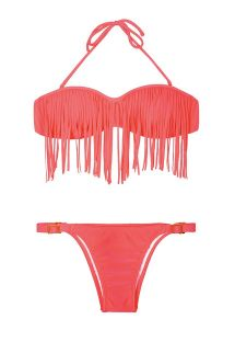 Bikini bandeau rosa fluorescente con flecos y braguita ajustable - RIO ROSA