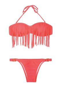Fluorescerende roze bandeau bikini, verstelbaar broekje - RIO ROSA
