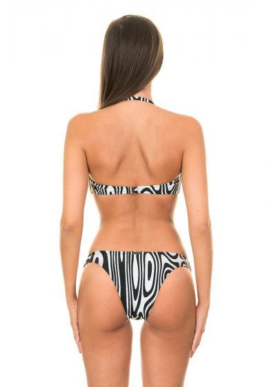 Svart och vit zebra-mönstrad bandeau bikini med orange insättningar - MONICA