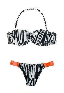 Bikini bandeau zébré noir et blanc, empiècements orange - MONICA