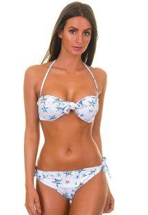 Białe bikini ze stanikiem bandeau w gwiazdy - KOHSAMUI
