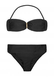 Black bandeau two-piece, gathered back to the bottom - BAMBOO BANDEAU BLACK BIKINI