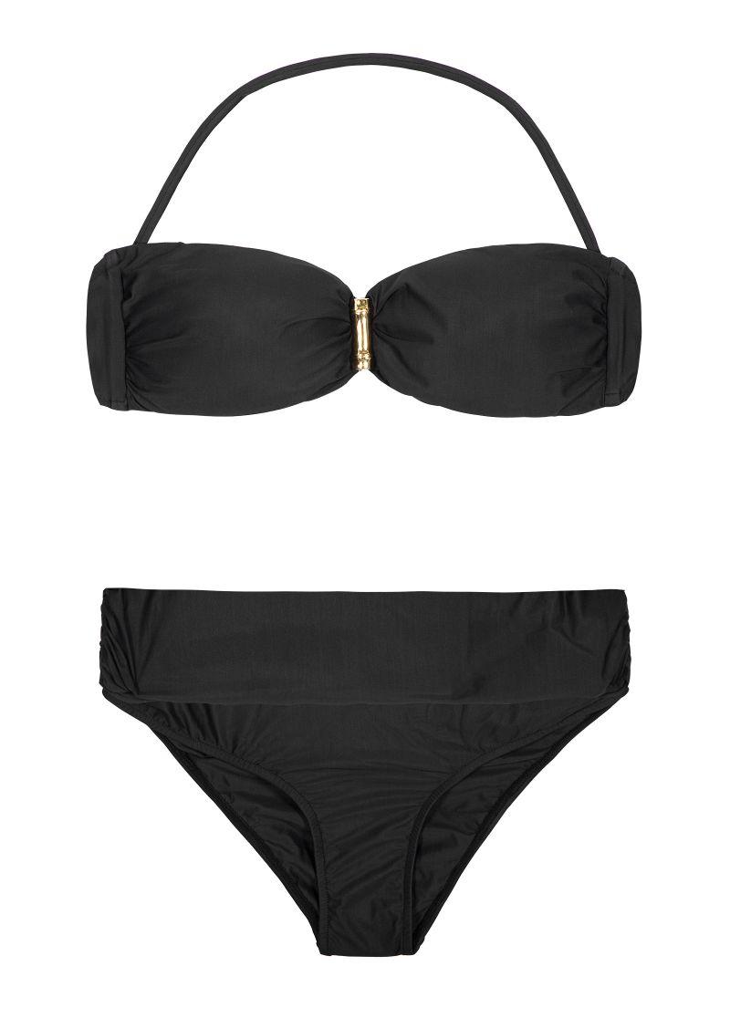 Svart bandeau bikini, nedredelen rynkad baktill - BAMBOO BANDEAU BLACK BIKINI