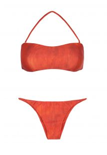 Orange bandeau bikini, detalj med många remmar - DETAILED BACK BANDEAU SEAMLESS BIKINI