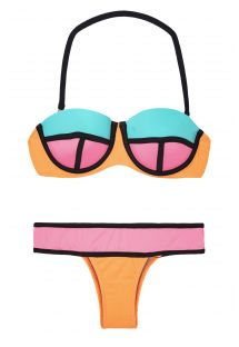 Tricolour colour block bikini with underwire balconette top - CORAL POWER