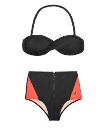 Black bandeau bikini top and black and neon coral hot pants - FIT ZIPER