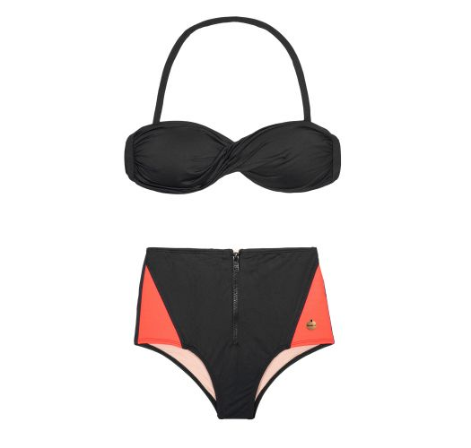 Black bandeau bikini top and black and neon coral hot pants - FIT ZIPER