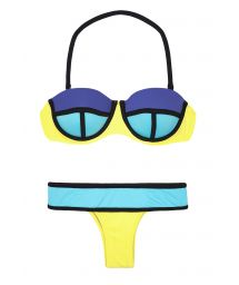 Blue/yellow colour block bikini with underwire balconette top - GALOES SUNSHINE