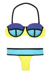 Bikini a balconcino con ferretti color block blu/giallo - GALOES SUNSHINE