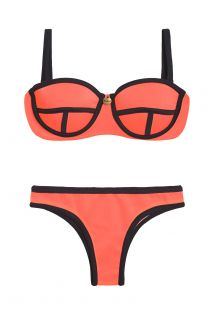 Neon mercan pembesi renkte, balenli balkonet bikini - ROSA FLUOR