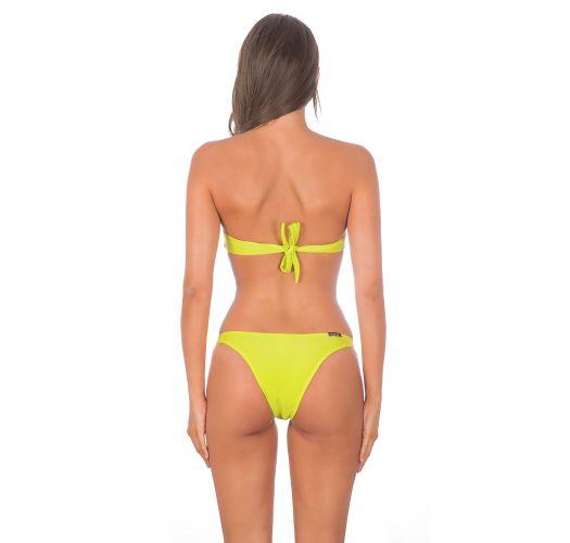 Bikini bandeau croisé jaune lime, bas avec anneaux - ACID TORCIDO TRIO
