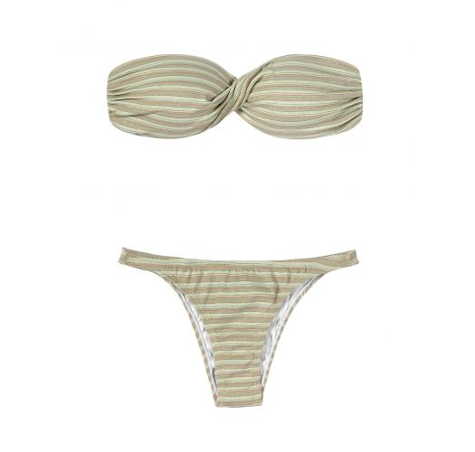 Striped and sequined bandeau top bikini set - ATENAS