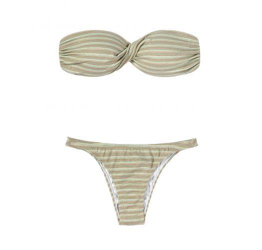 Striped and sequined bandeau top bikini set - ATENAS