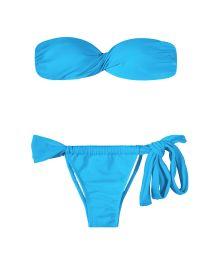 Blå bandeau bikini med ovanlig nedredel - BLUE TORCIDO LACE