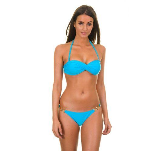 Blue bandeau bikini top and side-ring bottom - BLUE TORCIDO TRIO