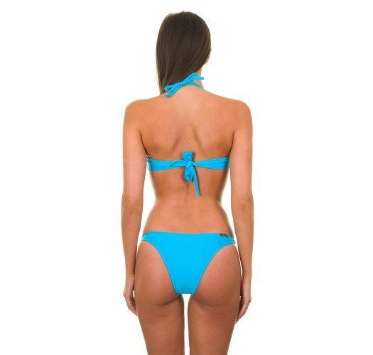 Bikini bandeau bleu et bas à anneaux - BLUE TORCIDO TRIO