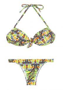 Knall gul mønstrete bandeau bikini - CORUJAS