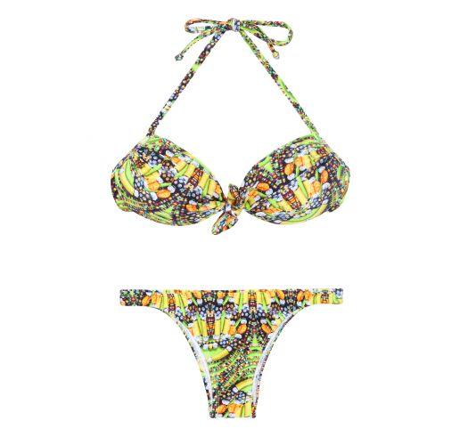 Fluorescent yellow printed bandeau bikini - CORUJAS