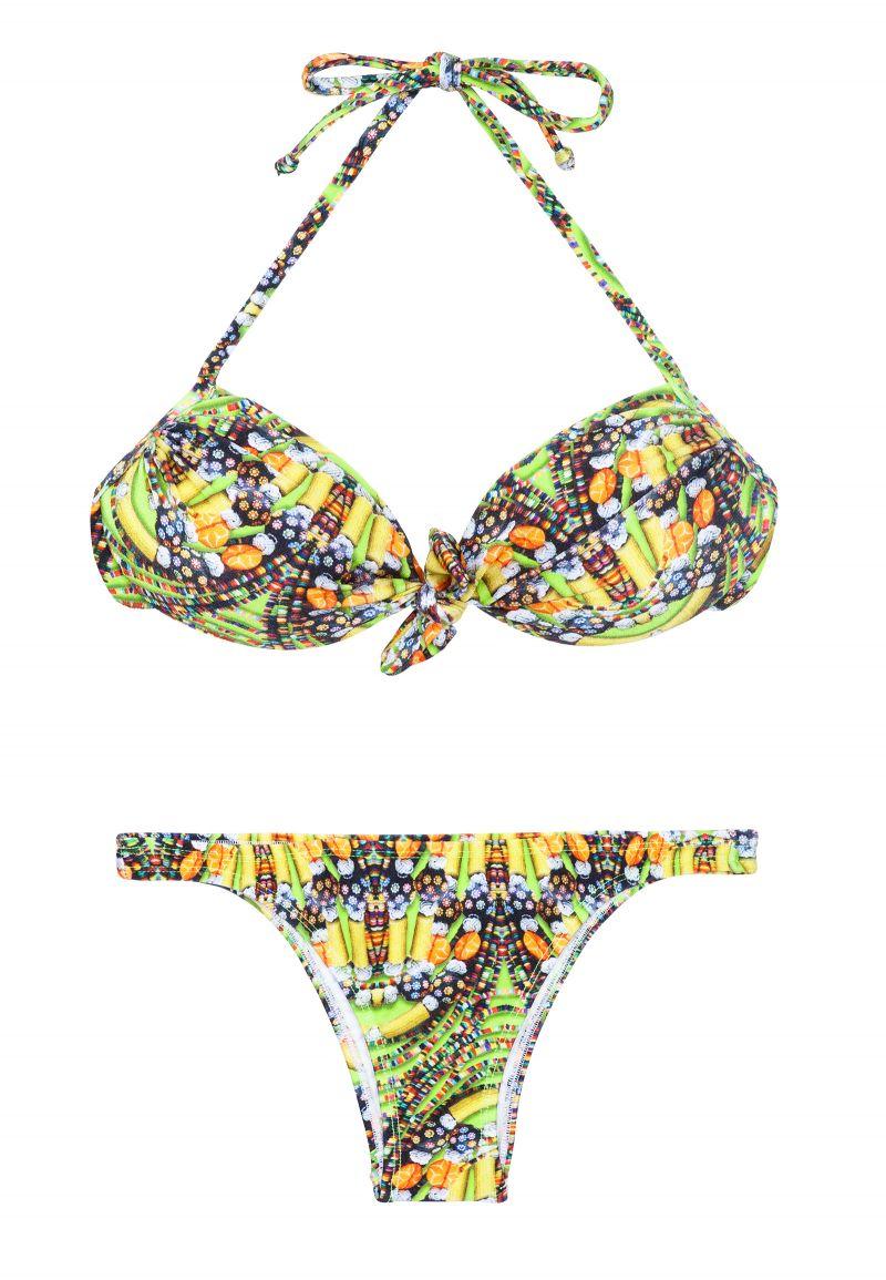 Skimrande gul tryckt bandeau bikini - CORUJAS