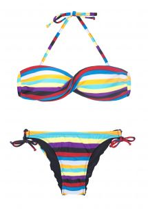 Twisted bandeau bikini with colourful stripes - INHAMBUS