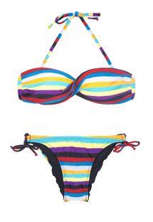 Bikini bandeau cruzado con rayas de colores - INHAMBUS