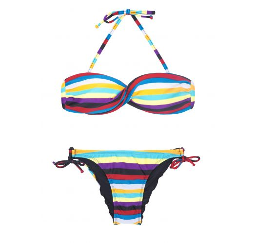 Twisted bandeau bikini with colourful stripes - INHAMBUS