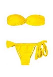 Bañador bandeau amarillo con relleno - IPE TORCIDO LACE