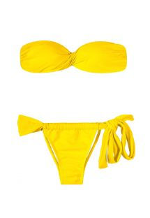 Gul bandeau bikini topp med formpressede skåler - IPE TORCIDO LACE