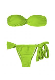 Pale green bandeau bikini, adjustable bottom with bow - JUREIA TORCIDO LACE