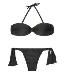 Black bandeau bikini with firm cups, side ties to the bottom - MINA BLACK