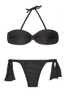 Black bandeau bikini with firm cups, side ties to the bottom - MINA BLACK