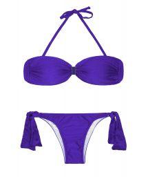 Blue satin-finish bandeau top two-piece swimsuit - MINA BLUE