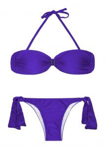 Blue satin-finish bandeau top two-piece swimsuit - MINA BLUE