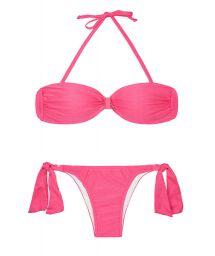 Pink satin-finish bandeau top two-piece - MINA PINK