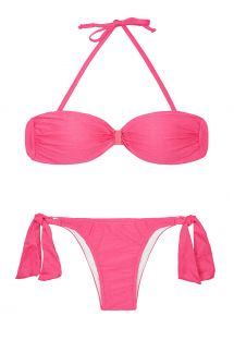 Pink satin-finish bandeau top two-piece - MINA PINK
