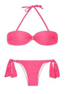 Розовый из блестящего сатина раздельный купальник-бандо - MINA PINK