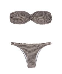 Two-tone striped and sequinned swimsuit - NOVA YORK