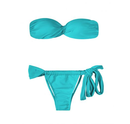 Blue bandeau bikini with cups, adjustable tie bottom - TAHITI TORCIDO LACE
