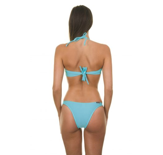 Blue 2 piece bandeau swimsuit with cups - TAHITI TORCIDO TRIO
