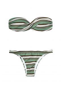 Green and khaki striped bandeau top bikini set - VARSOVIA