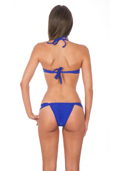 Violet-blue twisted bandeau bikini with sliding bottoms - ZAFFIRO TORCIDO SUMO