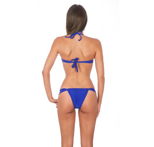 Bikini bandeau torsadé bleu violet, bas coulissant - ZAFFIRO TORCIDO SUMO