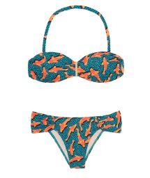 Blue bandeau bikini with orange fish, fixed bottom - CARPAS