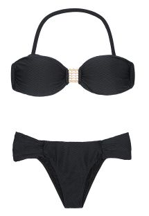 A textured black bikini with an accessorised bandeau and fixed bottoms - KITTY