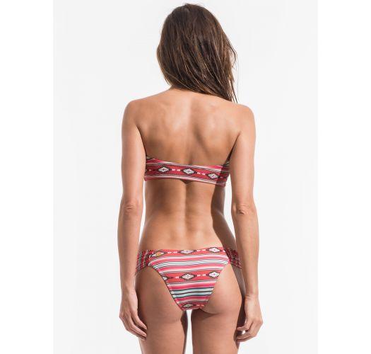 Bikini bandeau zippé, imprimé ethnique rayé rouge - LISTAS NAVAJO