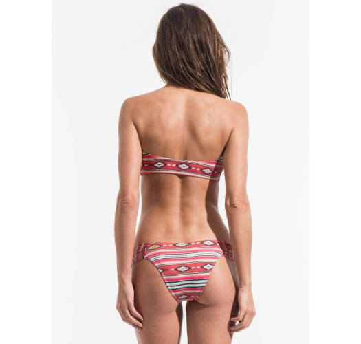 Zipped bandeau bikini, red ethnic stripe print - LISTAS NAVAJO