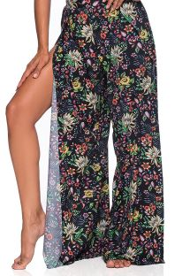 Slit beach trousers in black floral print - BOTTOM CROPPED CRUZADO DREAM