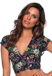 Beach crop top in black floral print - TOP CROPPED CRUZADO DREAM