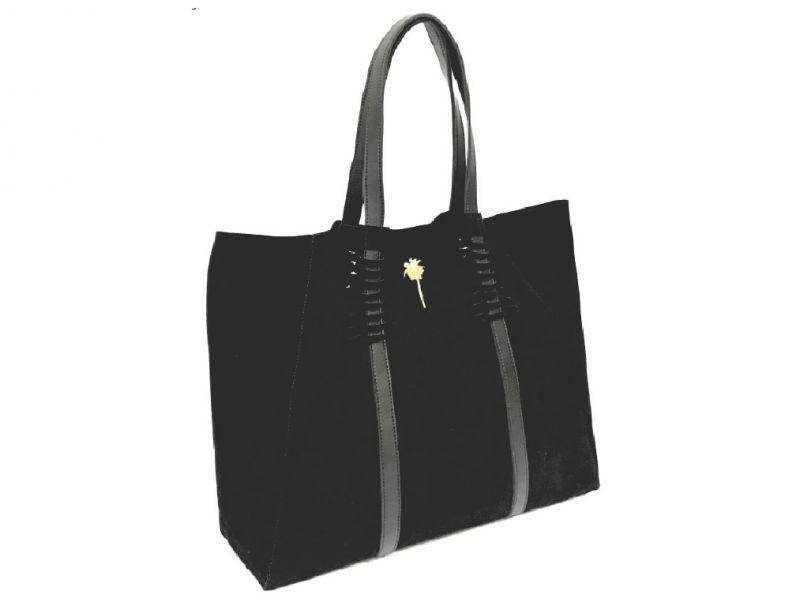 Luxurious black suede bag with leather handles - BOLSA CAMURÇA ALÇA VAZADA